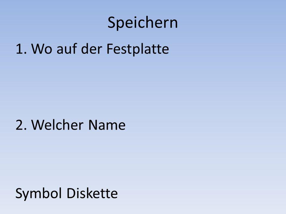 Speichern 1. Wo auf der Festplatte 2. Welcher Name Symbol Diskette
