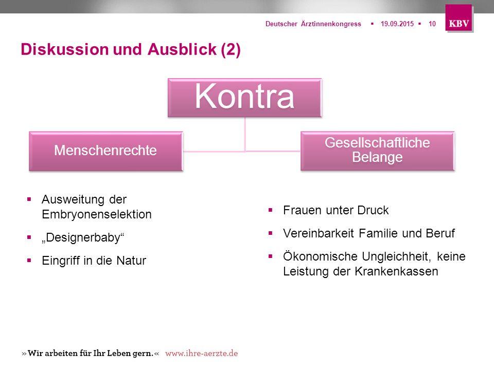  Deutscher Ärztinnenkongress19.09.201510 Diskussion und Ausblick (2) Kontra Menschenrechte Gesellschaftliche Belange  Ausweitung der Embryonenselek