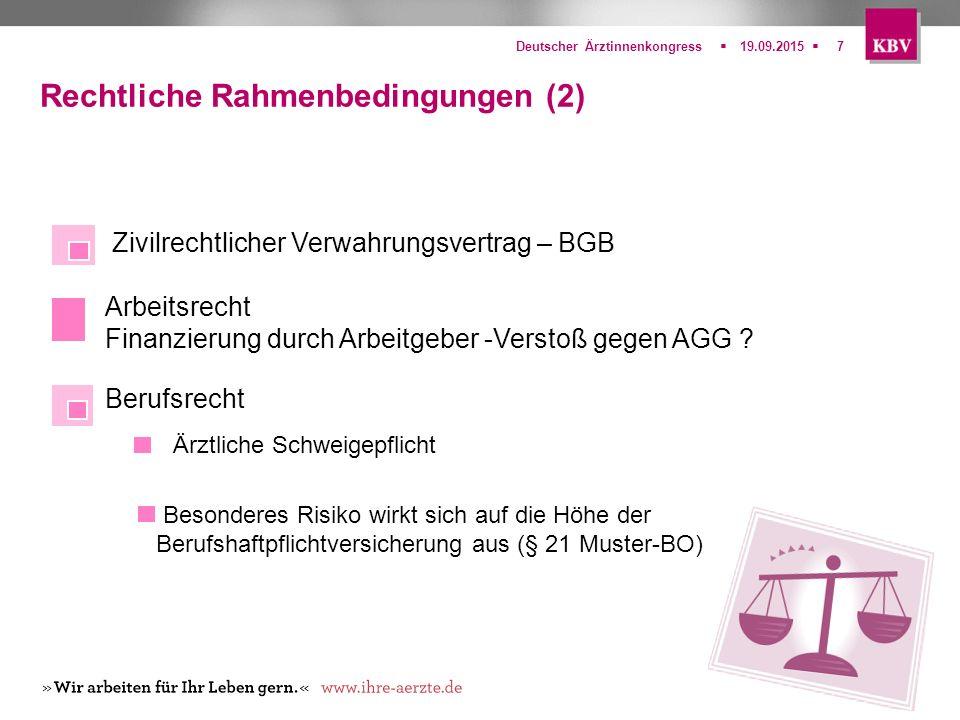  Deutscher Ärztinnenkongress19.09.20157 Rechtliche Rahmenbedingungen (2) Zivilrechtlicher Verwahrungsvertrag – BGB Arbeitsrecht Finanzierung durch A