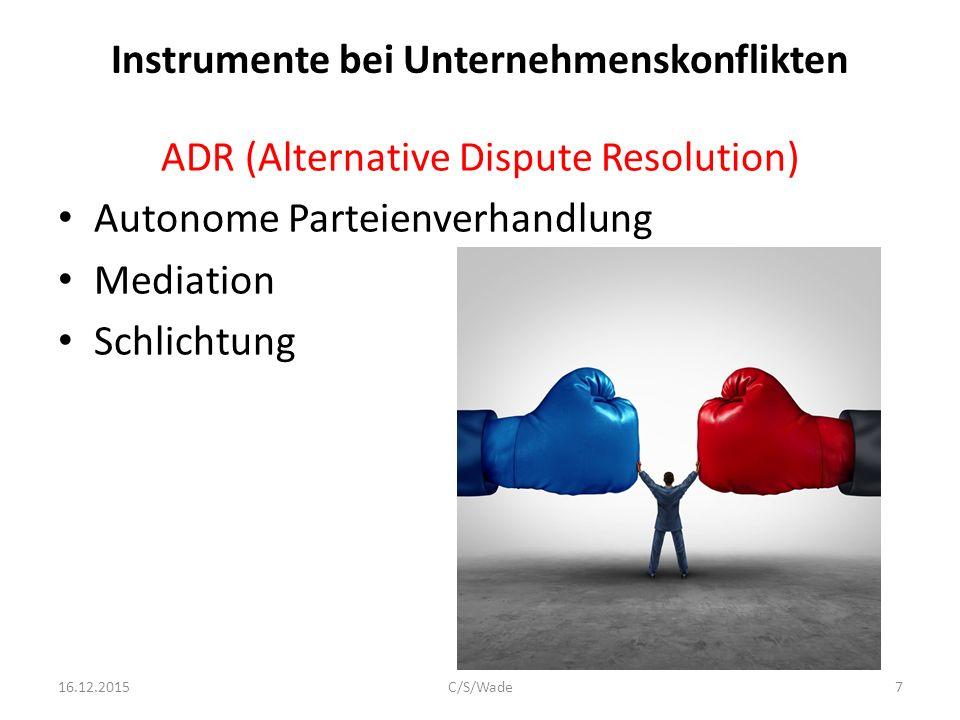 Instrumente bei Unternehmenskonflikten ADR (Alternative Dispute Resolution) Autonome Parteienverhandlung Mediation Schlichtung Schiedsgutachten 16.12.2015C/S/Wade8
