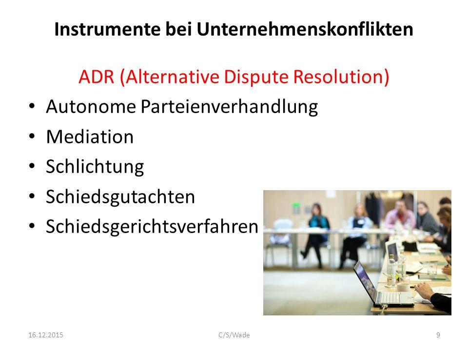 Instrumente bei Unternehmenskonflikten ADR (Alternative Dispute Resolution) Autonome Parteienverhandlung Mediation Schlichtung Schiedsgutachten Schiedsgerichtsverfahren Adjudication-Board 16.12.2015C/S/Wade10