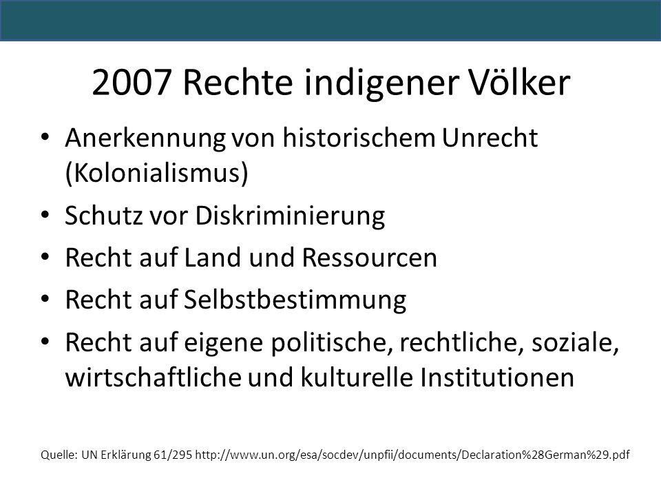 Anerkennung von historischem Unrecht (Kolonialismus) Schutz vor Diskriminierung Recht auf Land und Ressourcen Recht auf Selbstbestimmung Recht auf eig