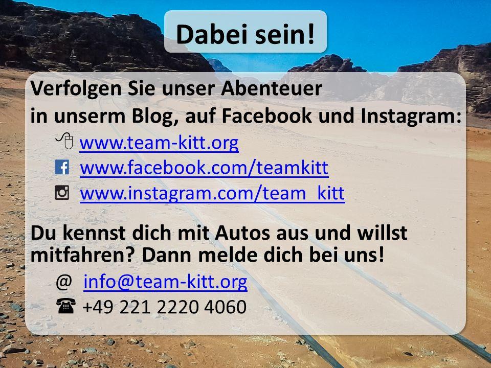 Verfolgen Sie unser Abenteuer in unserm Blog, auf Facebook und Instagram:  www.team-kitt.orgwww.team-kitt.org www.facebook.com/teamkitt www.instagram.com/team_kitt Du kennst dich mit Autos aus und willst mitfahren.