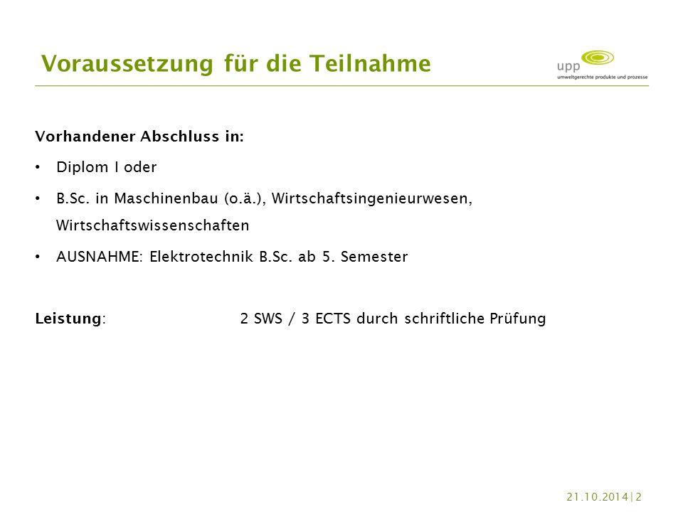 Vorhandener Abschluss in: Diplom I oder B.Sc.