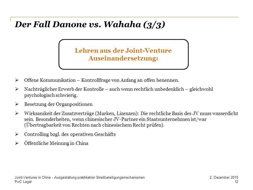 PwC Legal Der Fall Danone vs.