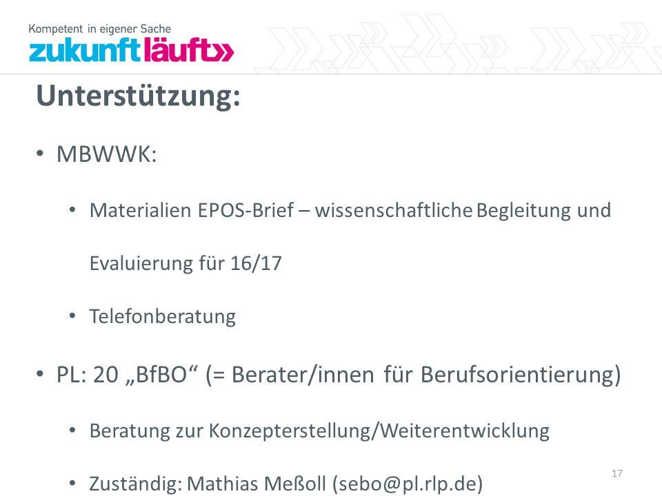 """Unterstützung: MBWWK: Materialien EPOS-Brief – wissenschaftliche Begleitung und Evaluierung für 16/17 Telefonberatung PL: 20 """"BfBO"""" (= Berater/innen f"""