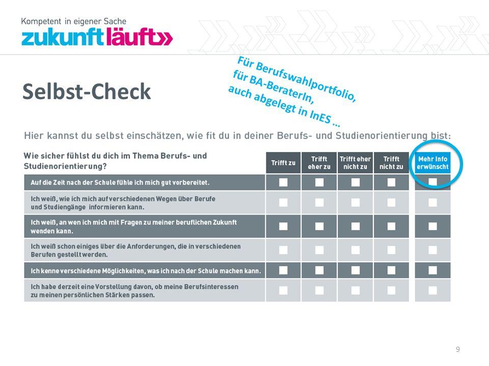Selbst-Check 9 Für Berufswahlportfolio, für BA-BeraterIn, auch abgelegt in InES …