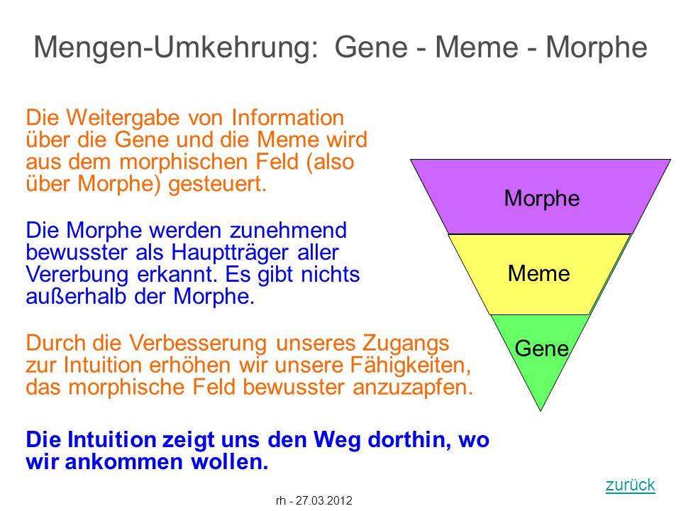 Gene Meme Morphe rh - 27.03.2012 Die Weitergabe von Information über die Gene und die Meme wird aus dem morphischen Feld (also über Morphe) gesteuert.
