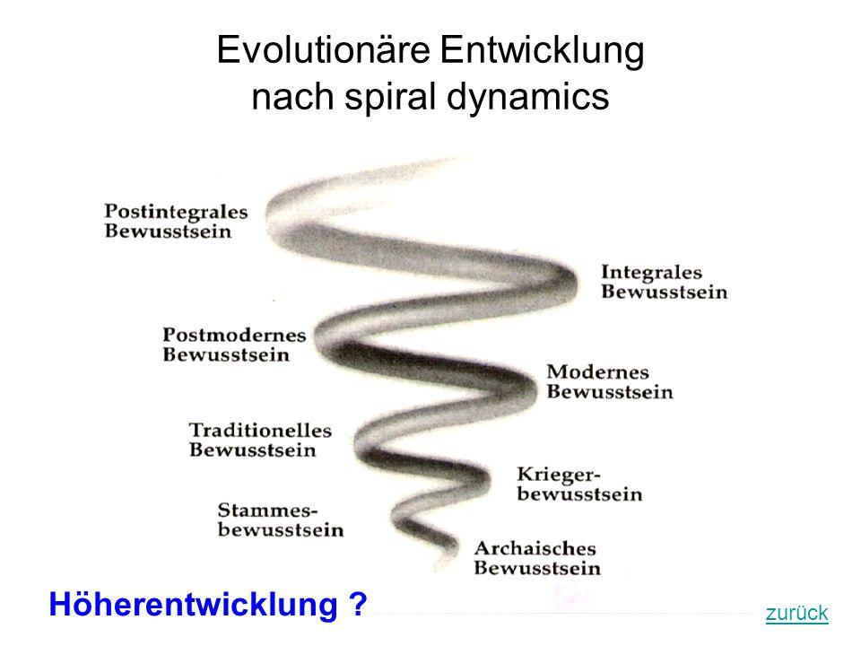 Evolutionäre Entwicklung nach spiral dynamics zurück Höherentwicklung ?