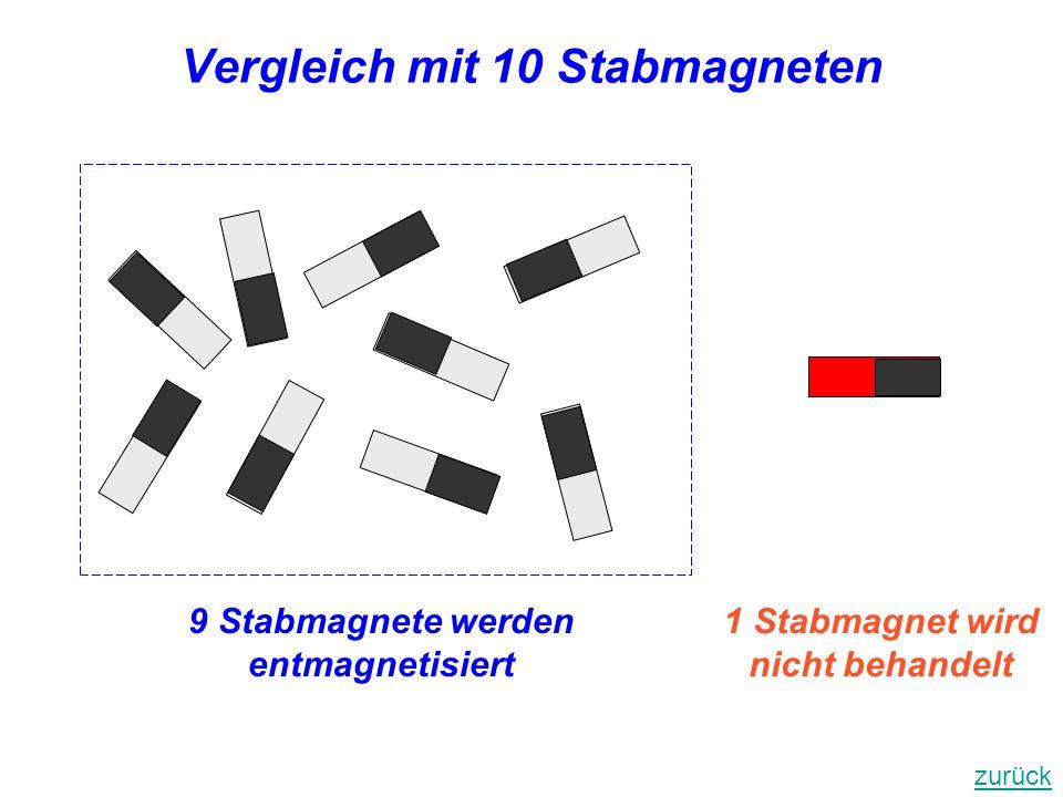 Vergleich mit 10 Stabmagneten 1 Stabmagnet wird nicht behandelt 9 Stabmagnete werden entmagnetisiert zurück