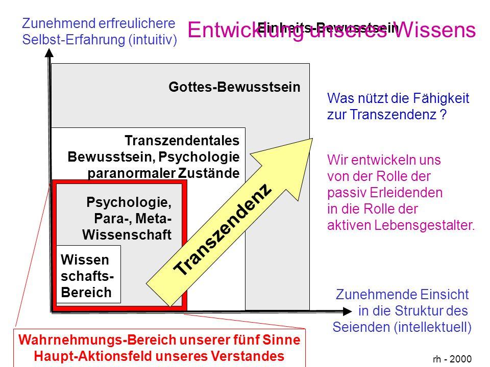 Zunehmende Einsicht in die Struktur des Seienden (intellektuell) Zunehmend erfreulichere Selbst-Erfahrung (intuitiv) rh - 2000 Wissen schafts- Bereich