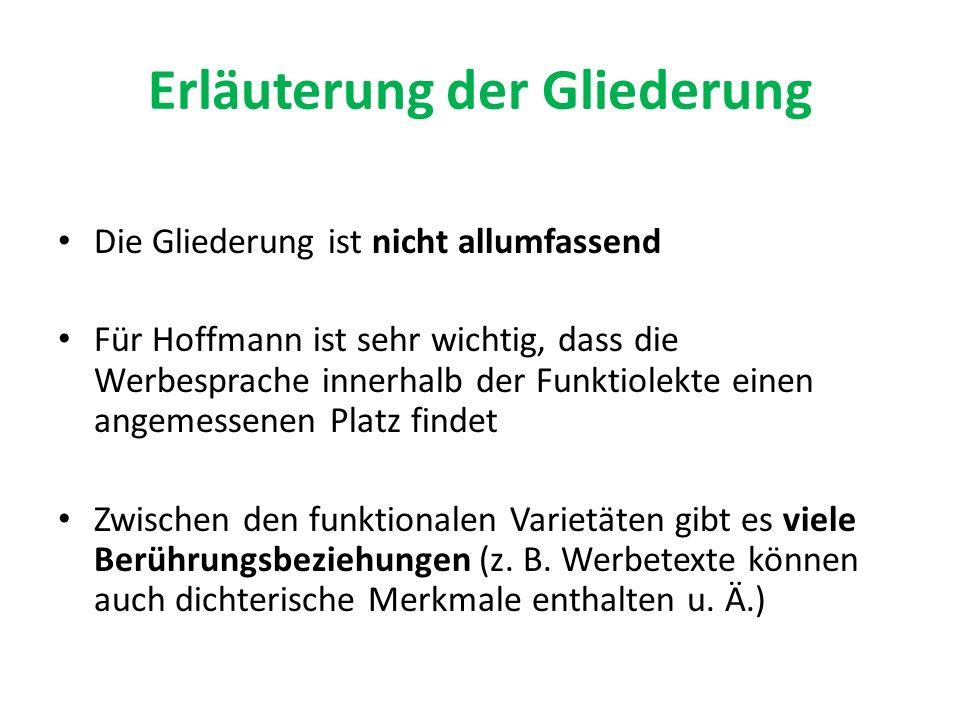 Erläuterung der Gliederung Die Gliederung ist nicht allumfassend Für Hoffmann ist sehr wichtig, dass die Werbesprache innerhalb der Funktiolekte einen