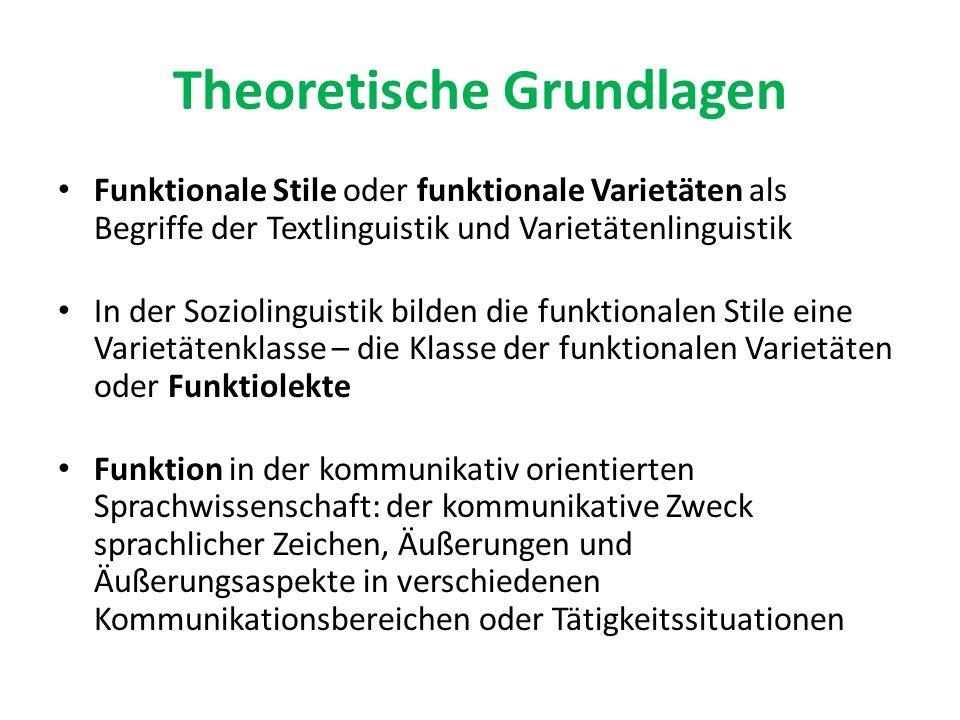 Theoretische Grundlagen Funktionale Stile oder funktionale Varietäten als Begriffe der Textlinguistik und Varietätenlinguistik In der Soziolinguistik