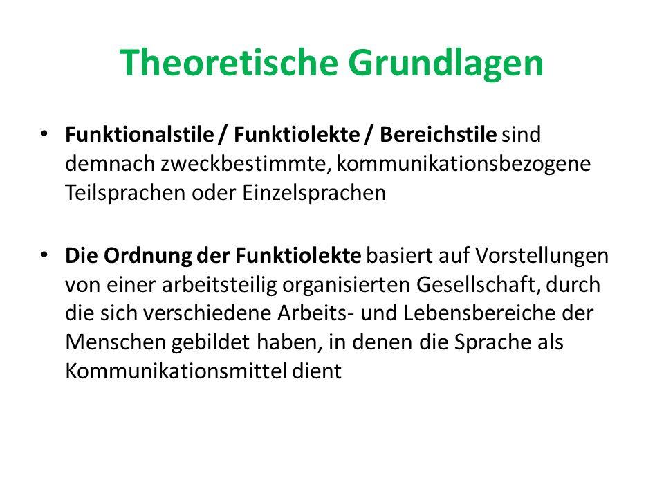 Theoretische Grundlagen Funktionalstile / Funktiolekte / Bereichstile sind demnach zweckbestimmte, kommunikationsbezogene Teilsprachen oder Einzelspra