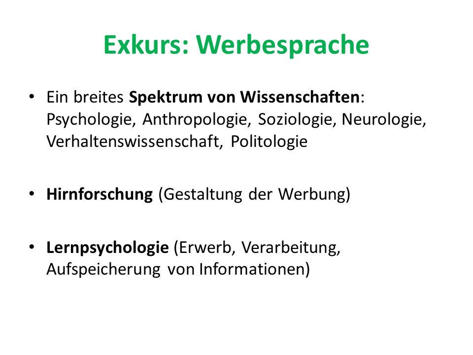 Exkurs: Werbesprache Ein breites Spektrum von Wissenschaften: Psychologie, Anthropologie, Soziologie, Neurologie, Verhaltenswissenschaft, Politologie