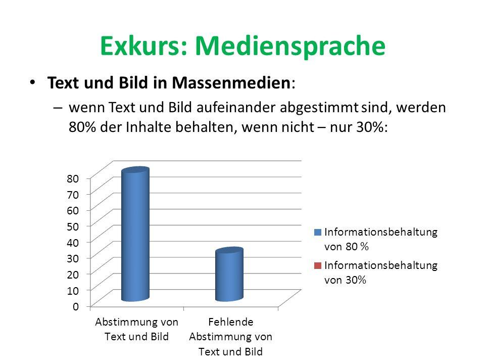 Exkurs: Mediensprache Text und Bild in Massenmedien: – wenn Text und Bild aufeinander abgestimmt sind, werden 80% der Inhalte behalten, wenn nicht – n