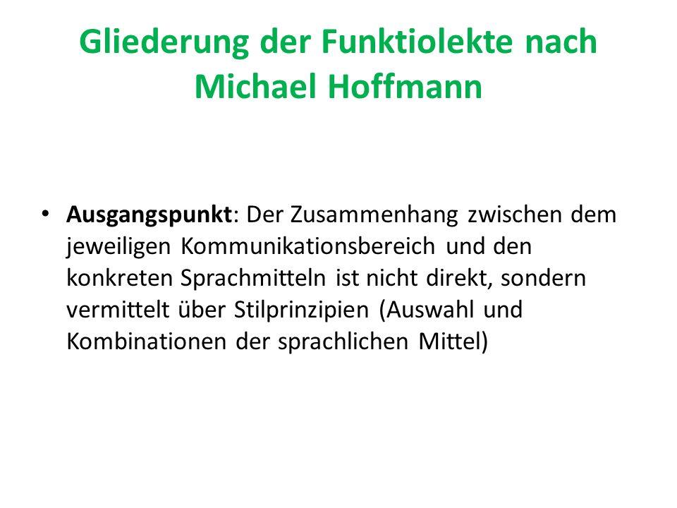 Gliederung der Funktiolekte nach Michael Hoffmann Ausgangspunkt: Der Zusammenhang zwischen dem jeweiligen Kommunikationsbereich und den konkreten Spra