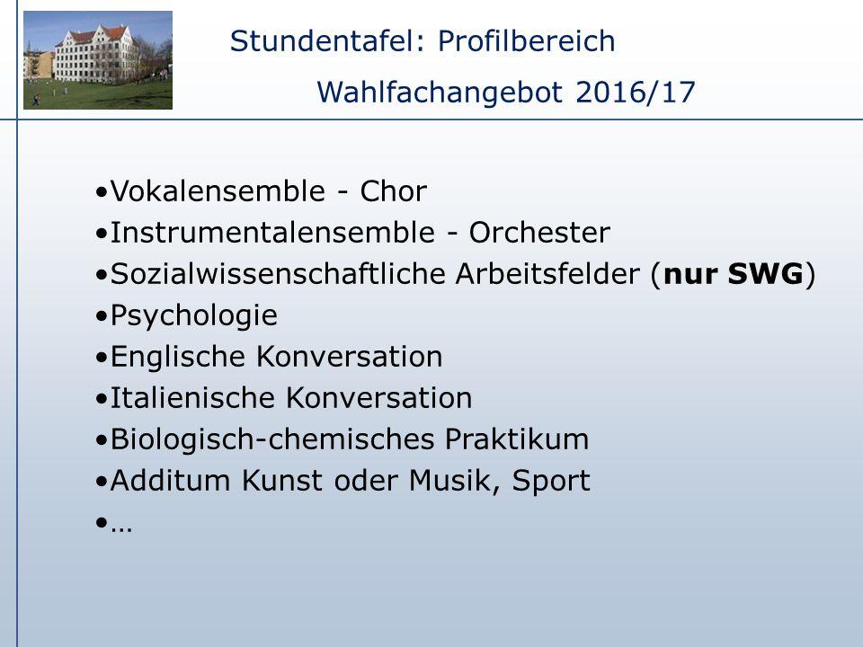 Stundentafel: Profilbereich Wahlfachangebot 2016/17 Vokalensemble - Chor Instrumentalensemble - Orchester Sozialwissenschaftliche Arbeitsfelder (nur S