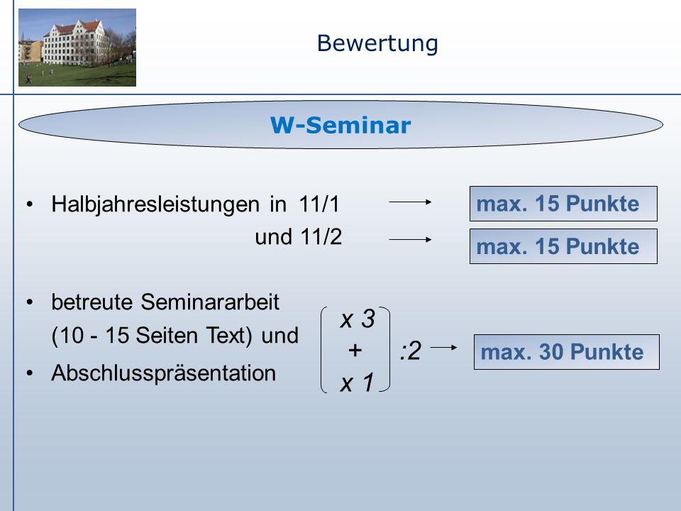 Bewertung Halbjahresleistungen in 11/1 und 11/2 betreute Seminararbeit (10 - 15 Seiten Text) und Abschlusspräsentation W-Seminar max. 30 Punkte max. 1