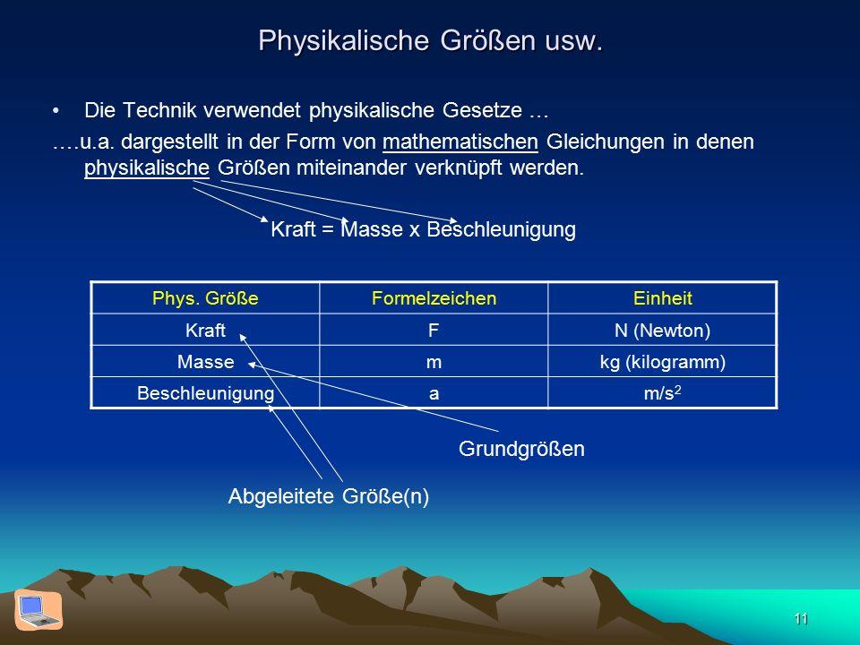 11 Physikalische Größen usw. Die Technik verwendet physikalische Gesetze … ….u.a. dargestellt in der Form von mathematischen Gleichungen in denen phys