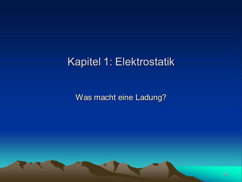 14 Kapitel 1: Elektrostatik Was macht eine Ladung?