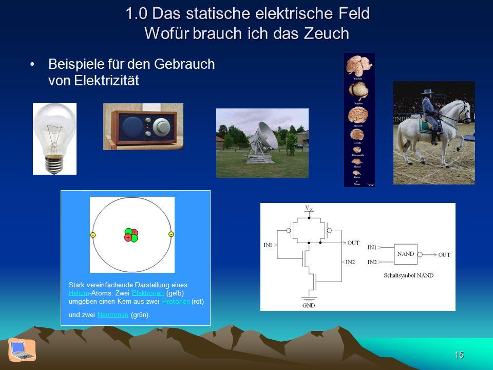 15 1.0 Das statische elektrische Feld Wofür brauch ich das Zeuch Beispiele für den Gebrauch von Elektrizität Stark vereinfachende Darstellung eines Helium-Atoms: Zwei Elektronen (gelb) umgeben einen Kern aus zwei Protonen (rot) und zwei Neutronen (grün).