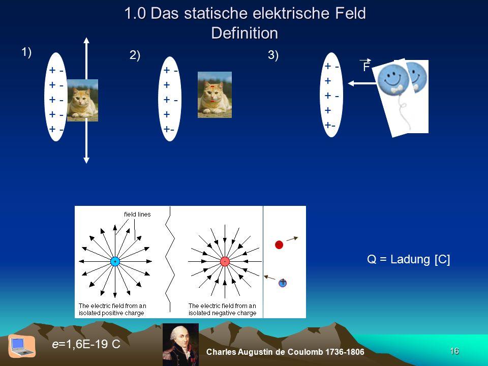 16 1.0 Das statische elektrische Feld Definition + - + + - + +- 1) + - 2) ---- 3) + - + + - + +- F - + Q = Ladung [C] e=1,6E-19 C Charles Augustin de