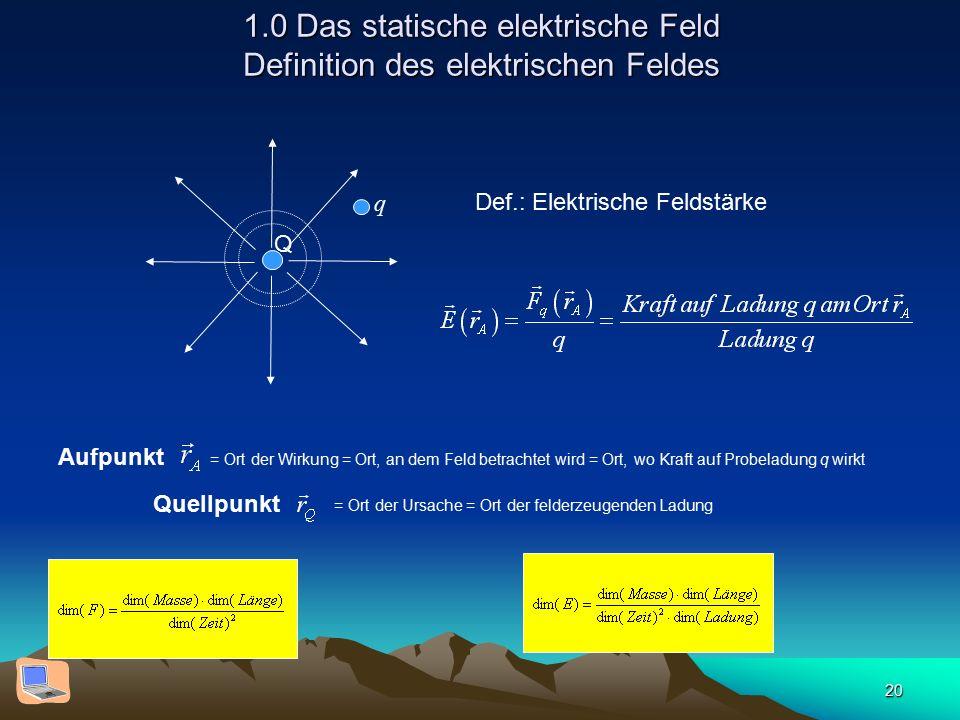 20 1.0 Das statische elektrische Feld Definition des elektrischen Feldes Q Def.: Elektrische Feldstärke Aufpunkt = Ort der Wirkung = Ort, an dem Feld