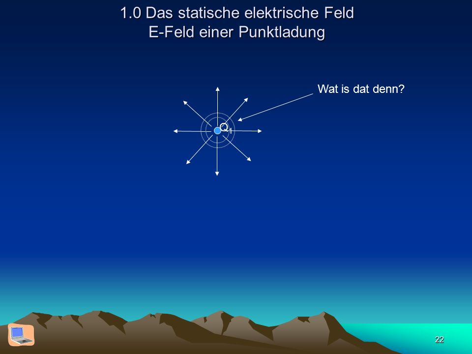 22 1.0 Das statische elektrische Feld E-Feld einer Punktladung Q1Q1 Wat is dat denn