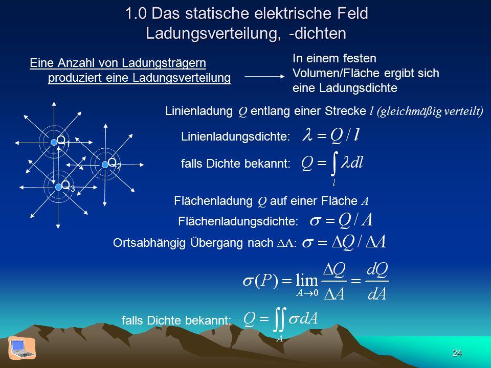 24 1.0 Das statische elektrische Feld Ladungsverteilung, -dichten Eine Anzahl von Ladungsträgern produziert eine Ladungsverteilung Q1Q1 Q2Q2 Q3Q3 In e