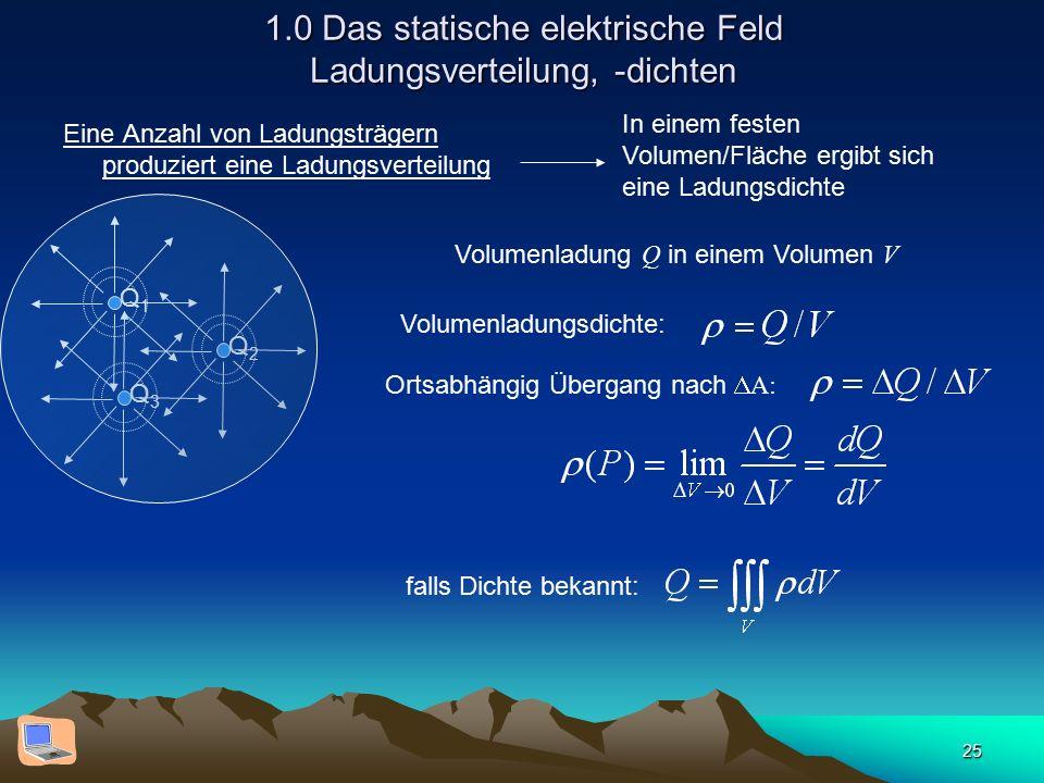 25 1.0 Das statische elektrische Feld Ladungsverteilung, -dichten Eine Anzahl von Ladungsträgern produziert eine Ladungsverteilung Q1Q1 Q2Q2 Q3Q3 In e
