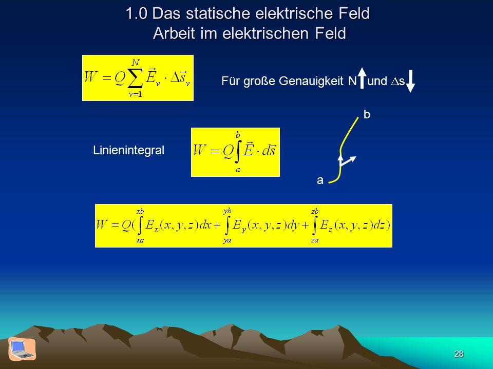 28 1.0 Das statische elektrische Feld Arbeit im elektrischen Feld Für große Genauigkeit N und  s a b Linienintegral