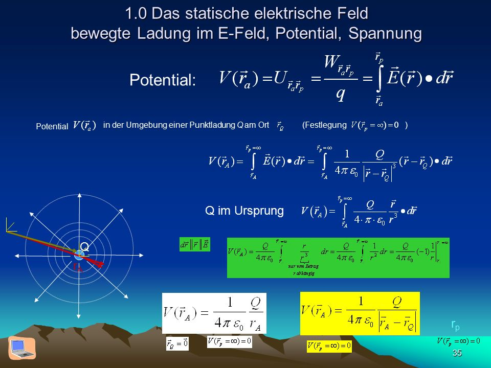 35 1.0 Das statische elektrische Feld bewegte Ladung im E-Feld, Potential, Spannung Q rArA rprp Potential in der Umgebung einer Punktladung Q am Ort (Festlegung ) Q im Ursprung Potential: