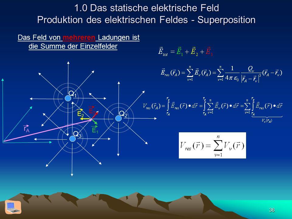 36 1.0 Das statische elektrische Feld Produktion des elektrischen Feldes - Superposition Das Feld von mehreren Ladungen ist die Summe der Einzelfelder Q1Q1 Q2Q2 Q3Q3 E3E3 E1E1 E2E2 rArA
