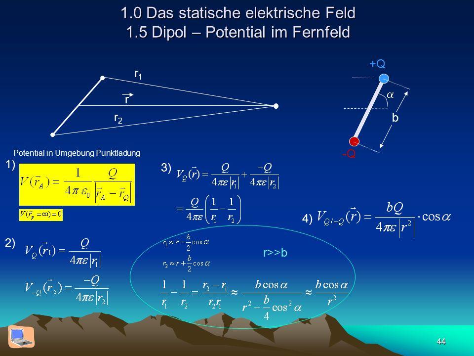 44 1.0 Das statische elektrische Feld 1.5 Dipol – Potential im Fernfeld  +Q -Q b r Potential in Umgebung Punktladung r1r1 r2r2 1) 2) 3) r>>b 4)