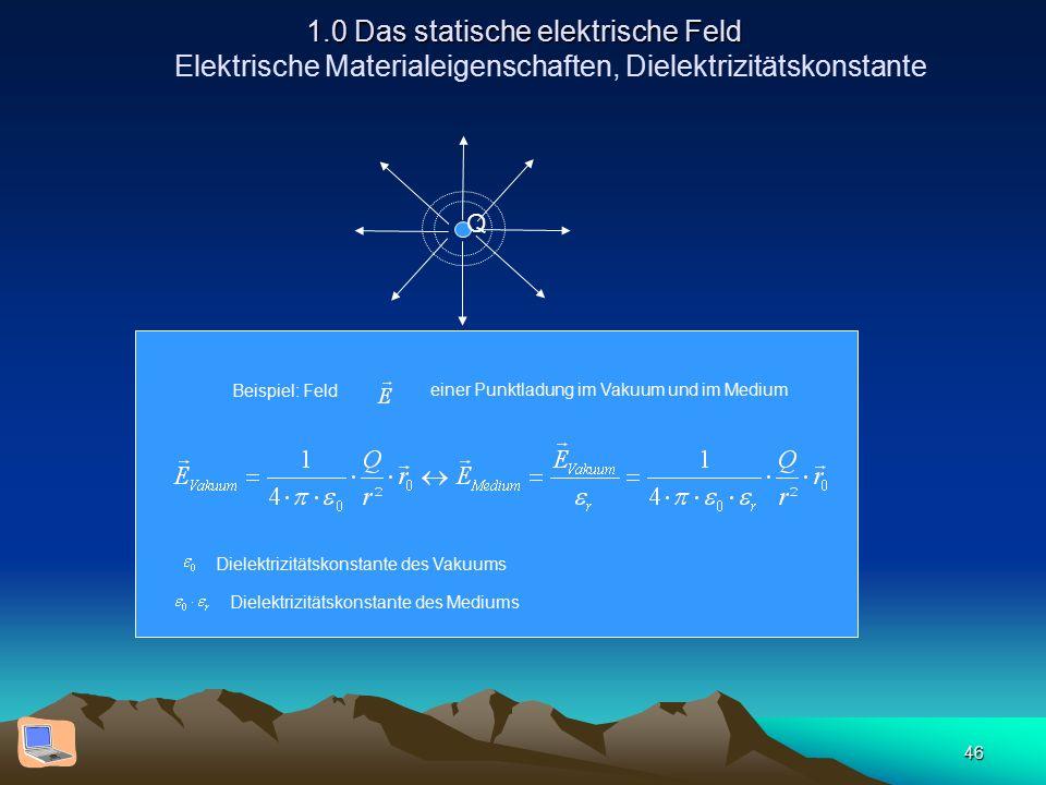 46 1.0 Das statische elektrische Feld 1.0 Das statische elektrische Feld Elektrische Materialeigenschaften, Dielektrizitätskonstante Beispiel: Feld ei
