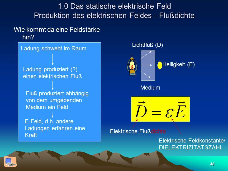 48 1.0 Das statische elektrische Feld Produktion des elektrischen Feldes - Flußdichte Wie kommt da eine Feldstärke hin? Ladung schwebt im Raum E-Feld,
