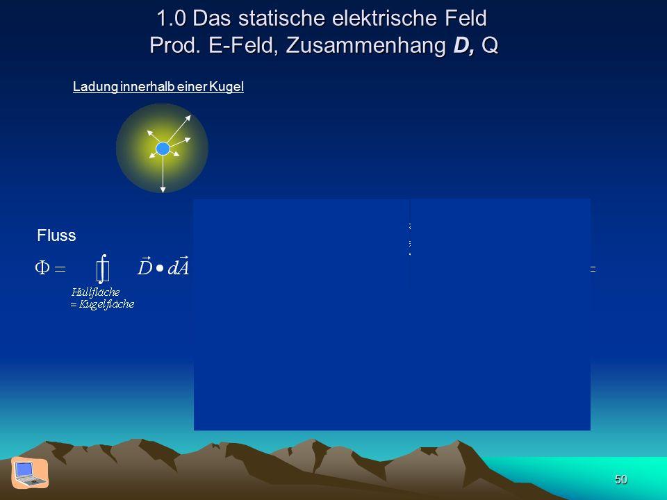 50 1.0 Das statische elektrische Feld Prod. E-Feld, Zusammenhang D, Q Ladung innerhalb einer Kugel Fluss