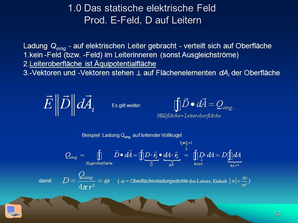 53 1.0 Das statische elektrische Feld Prod. E-Feld, D auf Leitern Ladung Q eing. - auf elektrischen Leiter gebracht - verteilt sich auf Oberfläche 1.k