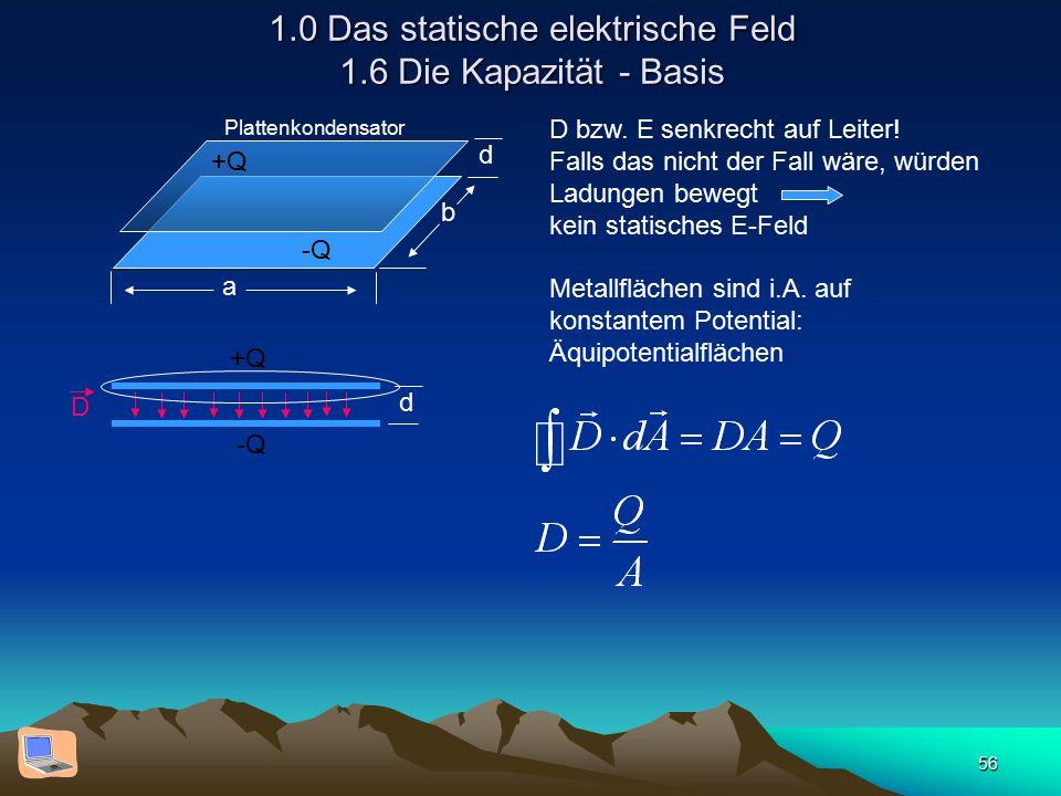56 1.0 Das statische elektrische Feld 1.6 Die Kapazität - Basis d b a +Q -Q Plattenkondensator d D +Q -Q D bzw. E senkrecht auf Leiter! Falls das nich