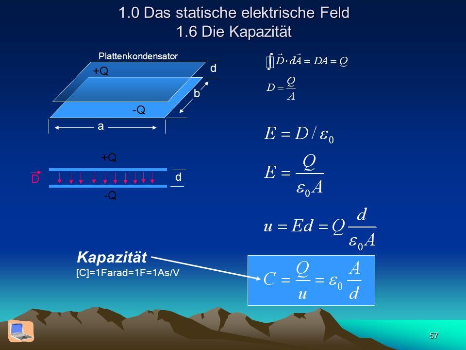 57 1.0 Das statische elektrische Feld 1.6 Die Kapazität d b a +Q -Q Plattenkondensator d D +Q -Q Kapazität [C]=1Farad=1F=1As/V