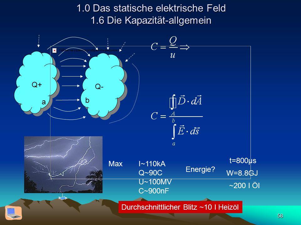 58 1.0 Das statische elektrische Feld 1.6 Die Kapazität-allgemein Q+ Q- a b MaxI~110kA Q~90C U~100MV C~900nF Energie? t=800µs W=8.8GJ ~200 l Öl Durchs