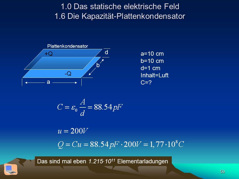 59 1.0 Das statische elektrische Feld 1.6 Die Kapazität-Plattenkondensator d b a +Q -Q Plattenkondensator a=10 cm b=10 cm d=1 cm Inhalt=Luft C=? Das s