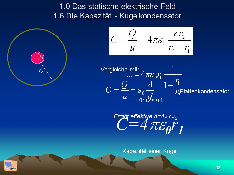 62 1.0 Das statische elektrische Feld 1.6 Die Kapazität - Kugelkondensator Vergleiche mit: Plattenkondensator Ergibt effektive A=4  ·r 1 r 2 r1r1 r2r2 Für r2>>r1 C=4  0 r 1 Kapazität einer Kugel