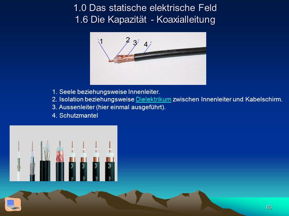 63 1.0 Das statische elektrische Feld 1.6 Die Kapazität - Koaxialleitung 1. Seele beziehungsweise Innenleiter. 2. Isolation beziehungsweise Dielektrik