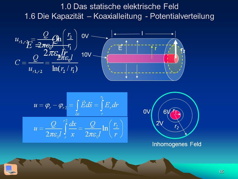 65 1.0 Das statische elektrische Feld 1.6 Die Kapazität – Koaxialleitung - Potentialverteilung E r l 0V 10V 0V 2V 6V Inhomogenes Feld r2r2 r1r1 r2r2