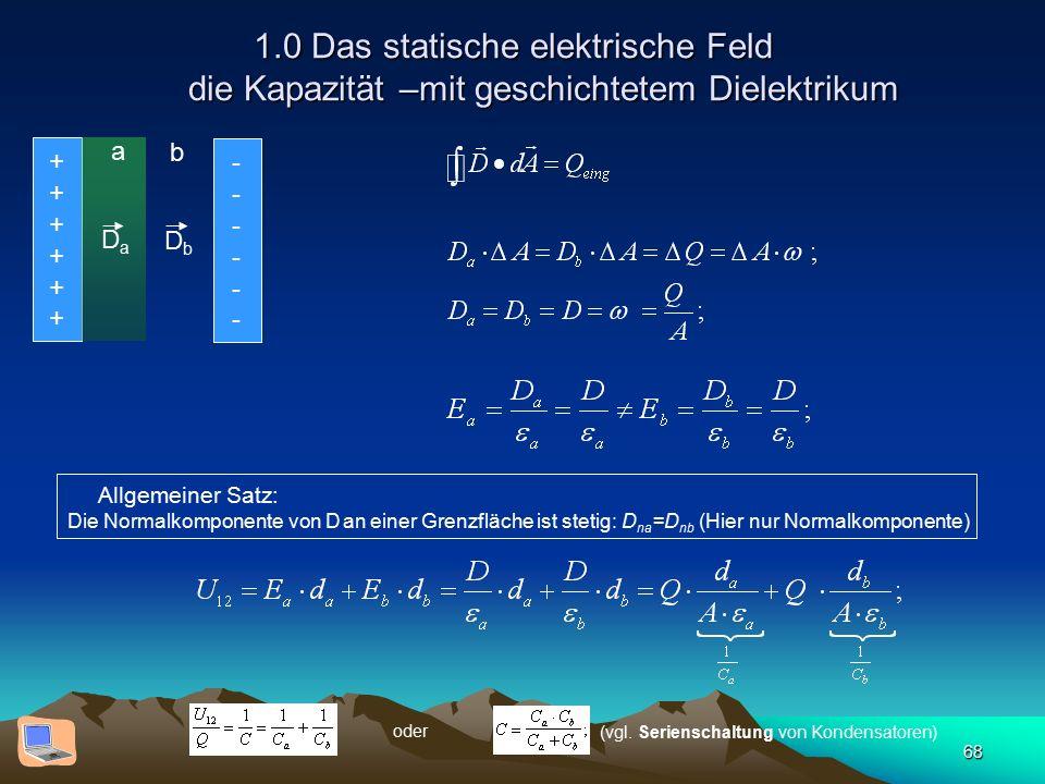 68 1.0 Das statische elektrische Feld die Kapazität –mit geschichtetem Dielektrikum Allgemeiner Satz: Die Normalkomponente von D an einer Grenzfläche