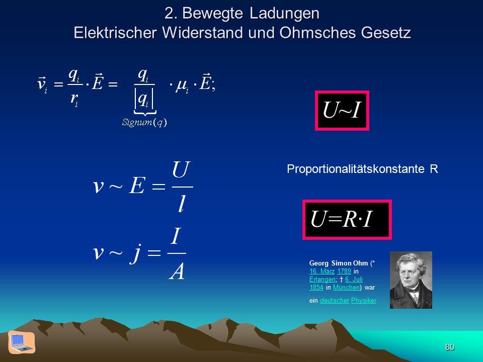 80 2. Bewegte Ladungen Elektrischer Widerstand und Ohmsches Gesetz U~I Proportionalitätskonstante R U=R·I Georg Simon Ohm (* 16. März 1789 in Erlangen