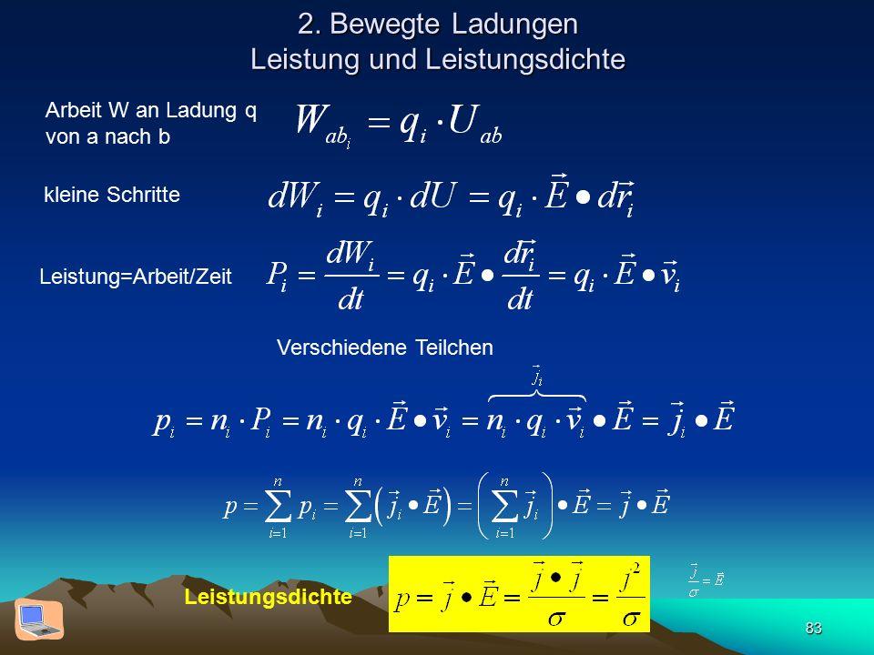 83 2. Bewegte Ladungen Leistung und Leistungsdichte Arbeit W an Ladung q von a nach b kleine Schritte Leistung=Arbeit/Zeit Verschiedene Teilchen Leist