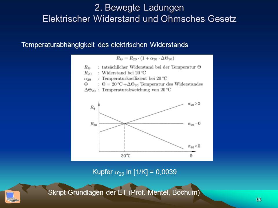 88 2. Bewegte Ladungen Elektrischer Widerstand und Ohmsches Gesetz Skript Grundlagen der ET (Prof. Mentel, Bochum) Temperaturabhängigkeit des elektris